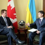 March 4, 2014: Canadian Foreign Minister John Baird with Ukraine's ambassador to Canada, Vadym Prystaiko, Photo: iPolitics
