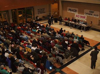 Feb. 15, 2003: Hundreds gathered at the Bulman Centre at the University of Winnipeg to discuss the pending invasion of Iraq by the United States and its allies. Photo: Glenn Michalchuk