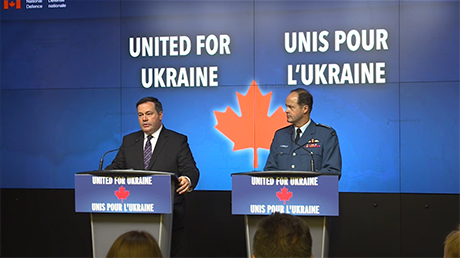 April 17, 2015: Jason Kenney, the minister of National Defence, General Tom Lawson, the chief of defence staff at a news conference detailing  Canada's growing  military intervention in Ukraine. Photo: Canadian Forces