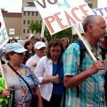 "June 13 2015: Winnipeggers say ""Vote 4 Peace"" in the 34th annual Walk for Peace, a highlight of the Winnipeg Peace and Justice Festival. Photo: Paul S. Graham"