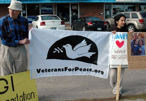 Peace activists occupy Tory election campaign office in Winnipeg, Sept. 20, 2008 to focus attention on deportation of American war resister Jeremy Hinzman. Photo: Paul Graham