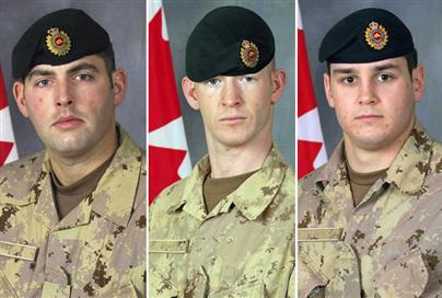Sgt. Shawn Eades, Cpl. Dustin Roy Robert Joseph Wasden and Sapper Stephan John Stock were killed by an IED on Thursday, August 21, 2008.