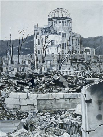 This is an artist's depiction of the Hiroshima Peace Memorial (Genbaku Dome or A-Bomb Dome), the only structure left standing in the area where the atomic bomb exploded. It has been preserved in the same state as immediately after the bombing.