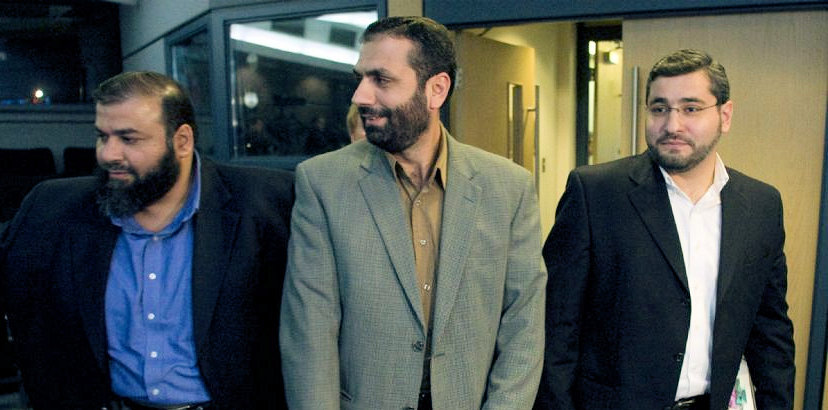 Abdullah Almalki (right), Muayyed Nureddin and Ahmad El Maati arrive at a news conference in a 2008 file photo. A federal inquiry has concluded the actions of Canadian officials contributed indirectly to the torture of the three Arab-Canadian men in Syria. (Adrian Wyld / THE CANADIAN PRESS)