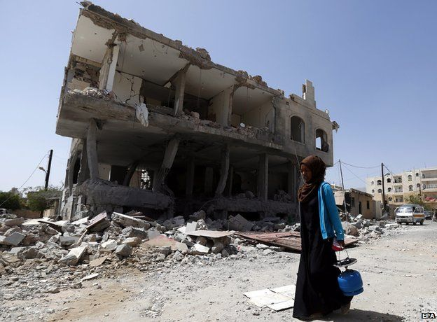 Yemeni homes and buildings have been destroyed by airstrikes. Photo: BBC